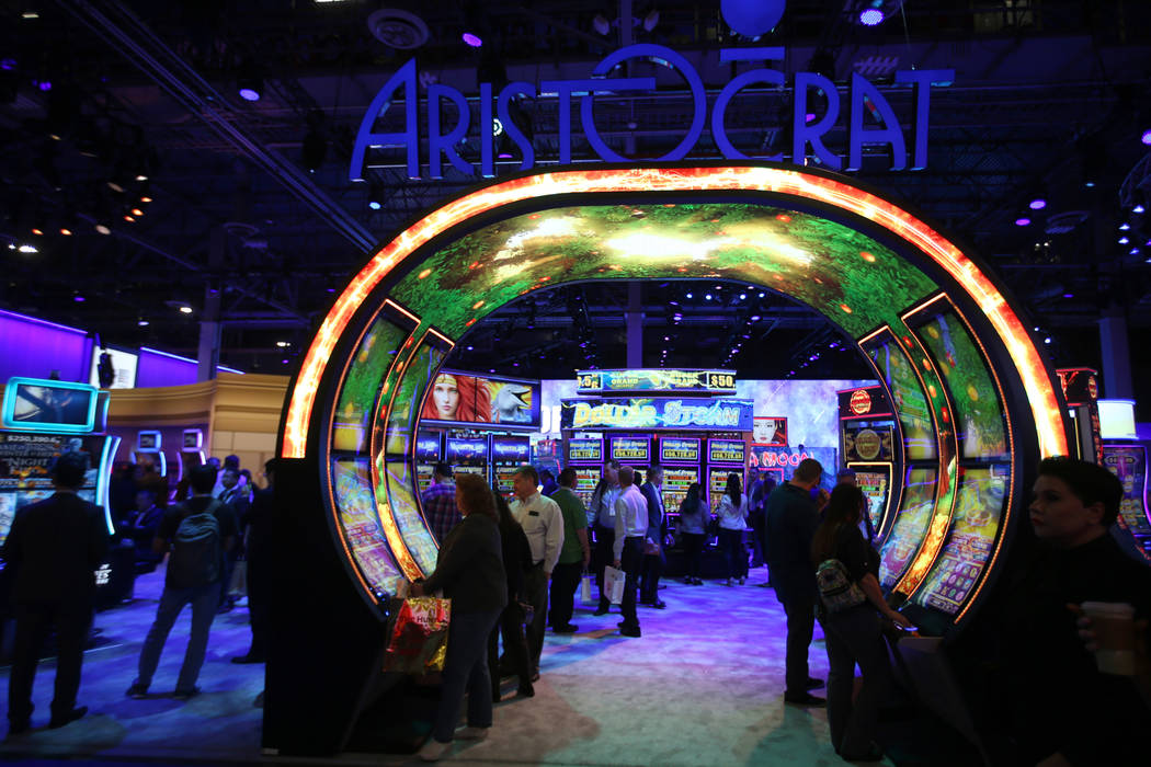 The Aristocrat Technologies Inc. booth at the 2019 Global Gaming Expo at the Sands Expo and Con ...