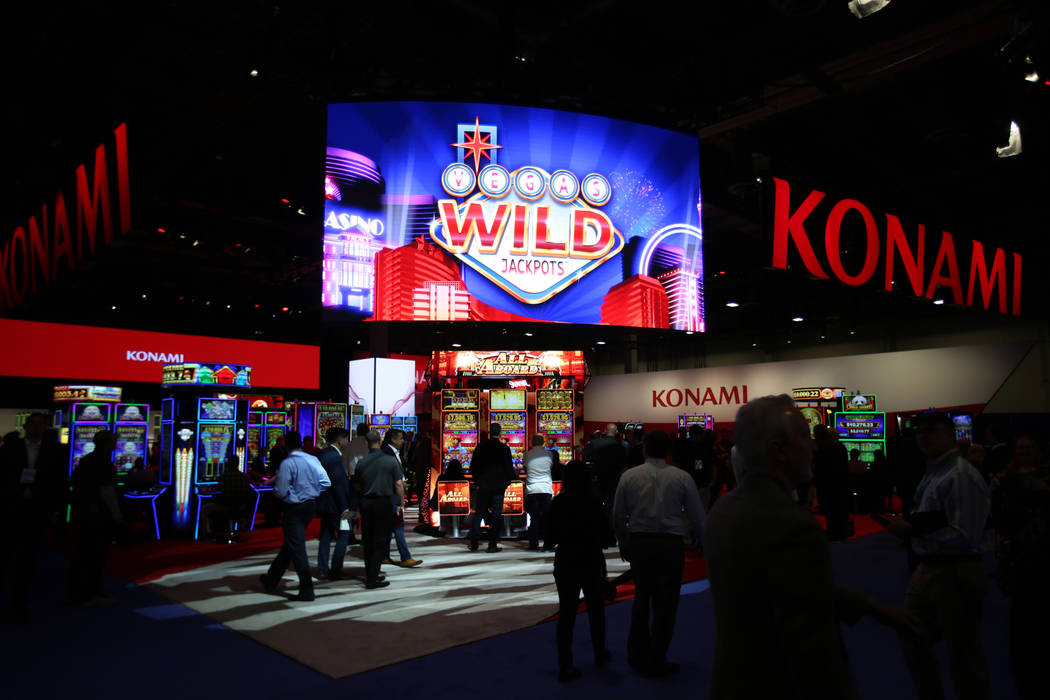 The Konami Gaming Inc. booth at the 2019 Global Gaming Expo at the Sands Expo and Convention Ce ...