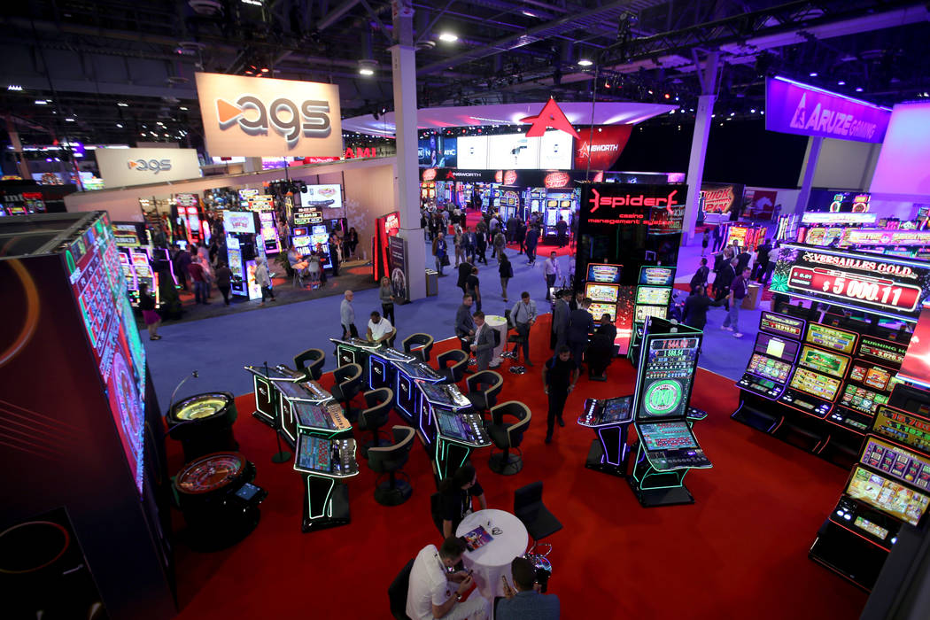 The EGT Multiplayer booth at the 2019 Global Gaming Expo at the Sands Expo and Convention Cente ...