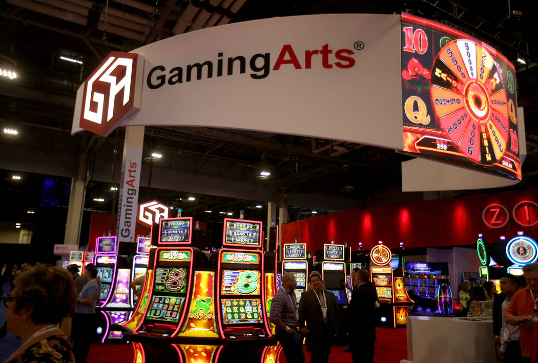 The Gaming Arts booth at the 2019 Global Gaming Expo at the Sands Expo and Convention Center in ...