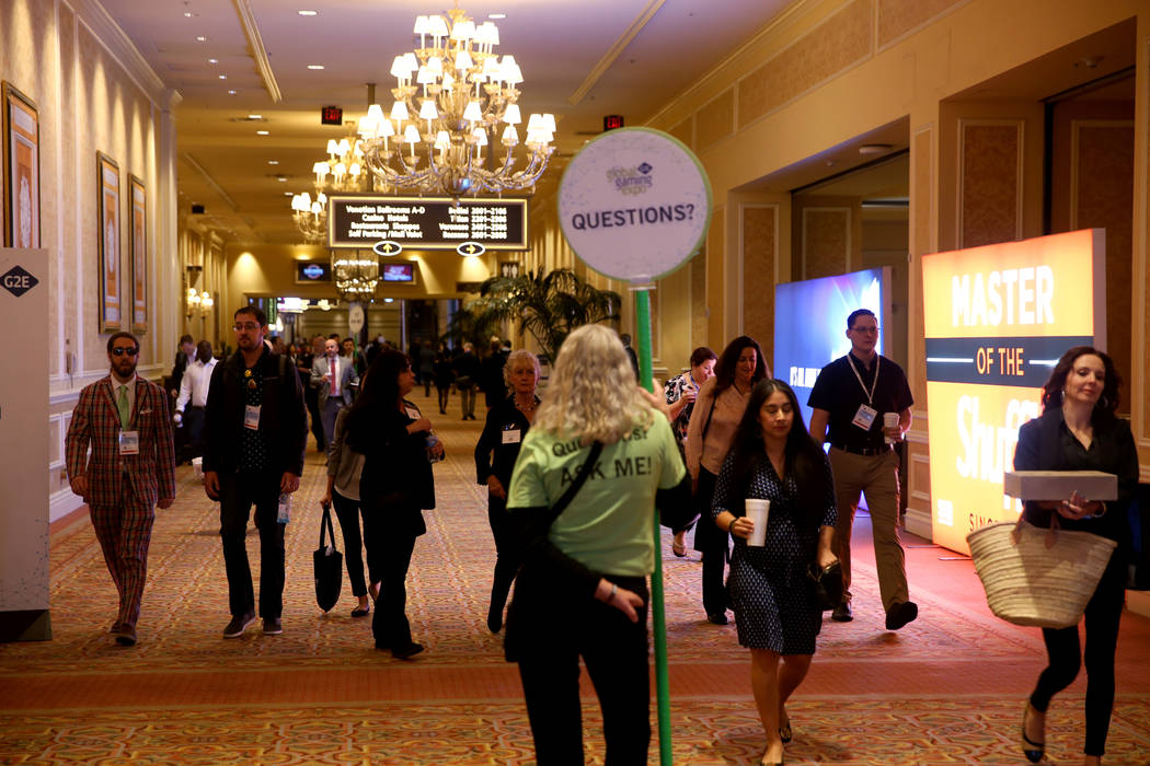 Conventioneers arrive at the 2019 Global Gaming Expo at the Sands Expo and Convention Center in ...