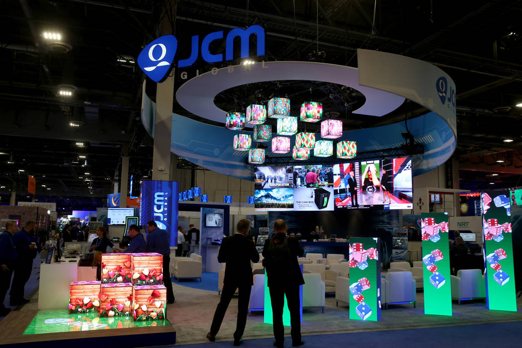 The JCM Global booth at the 2019 Global Gaming Expo at the Sands Expo and Convention Center in ...