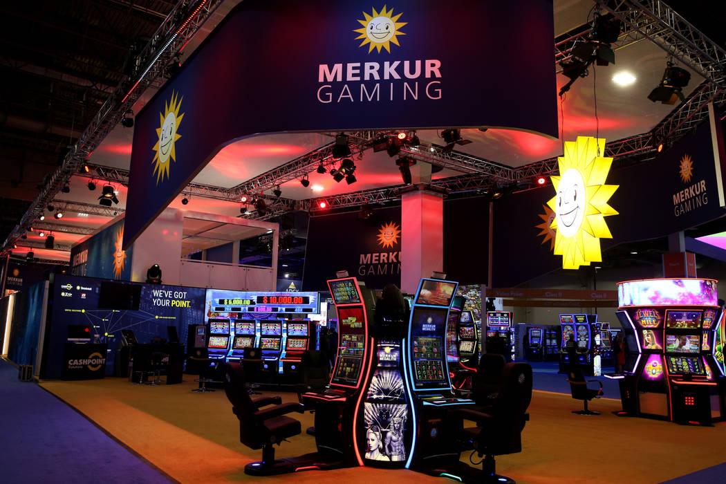 The Merkur Gaming booth at the 2019 Global Gaming Expo at the Sands Expo and Convention Center ...