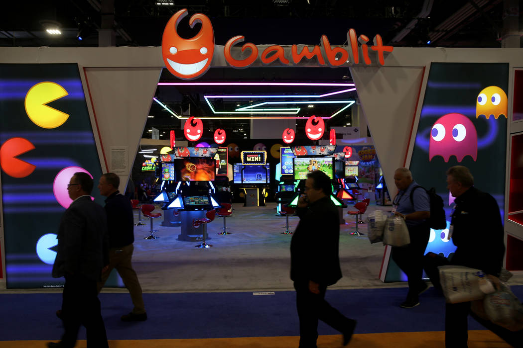The Gamblit Gaming booth at the 2019 Global Gaming Expo at the Sands Expo and Convention Center ...