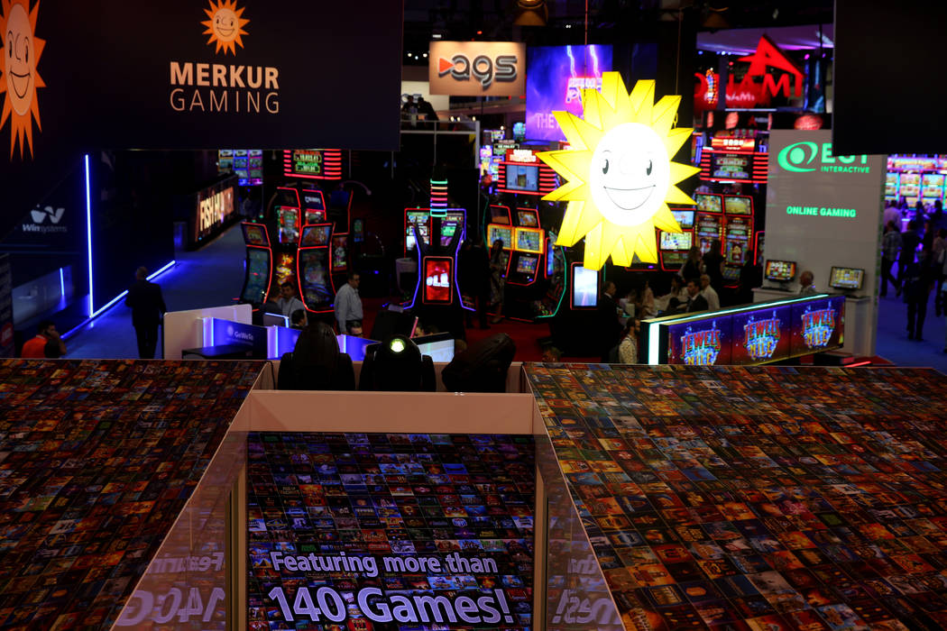 The view from the Merkur Gaming booth at the 2019 Global Gaming Expo at the Sands Expo and Conv ...