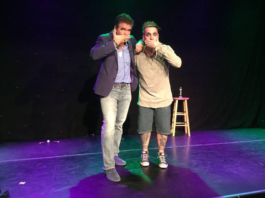 Review-Journal columnist John Katsilometes and Sam WIlls, aka Tape Face, pose at House of Tape ...