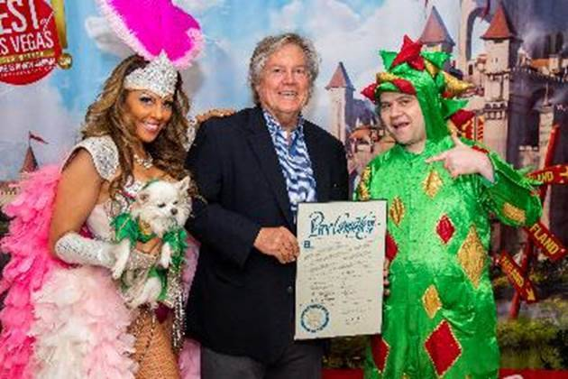 Clark County Commissioner Tick Segerblom, middle, is shown with Jade Simone, Mr. Piffles and Pi ...