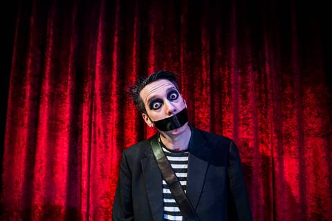 Sam Wills, aka Tape Face, in a Feb. 24, 2017, photo. (Benjamin Hager/Las Vegas Review-Journal) ...