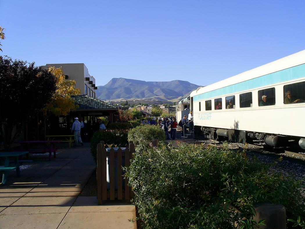 Passengers board the renovated vintage train at the Verde Canyon Railroad Depot. (Deborah Wall/ ...