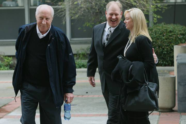Former Oakland Raiders great Fred Biletnikoff, left, his son Fred Biletnikoff, Jr., center, and ...