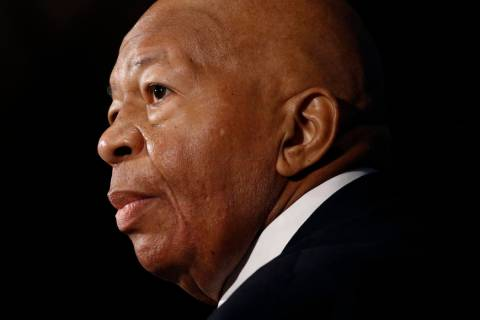 In an Aug. 7, 2019, photo, Rep. Elijah Cummings, D-Md., speaks during a luncheon at the Nationa ...