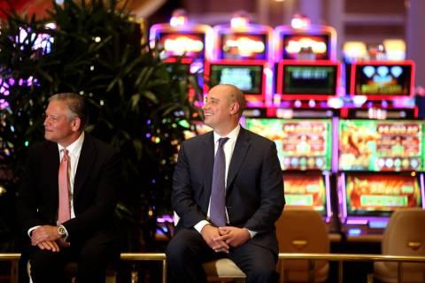 Robert DeSalvio, president of Encore Boston Harbor, left, and Wynn Resorts CEO Matt Maddox duri ...