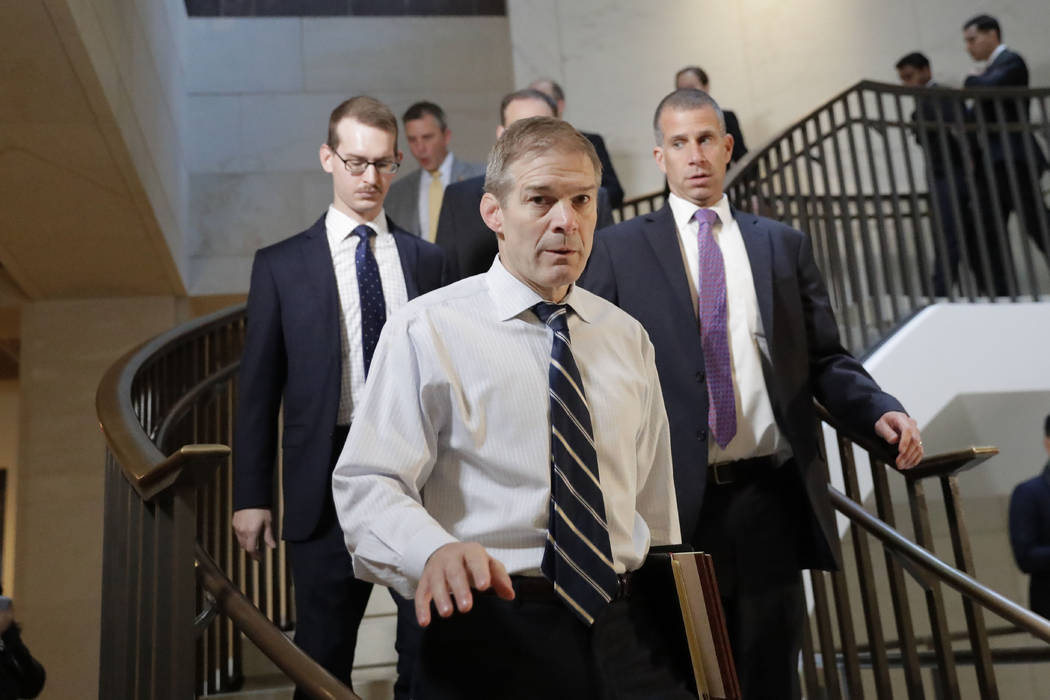 Rep. Jim Jordan, R-Ohio, ranking member of the Committee on Oversight Reform arrives at the US ...