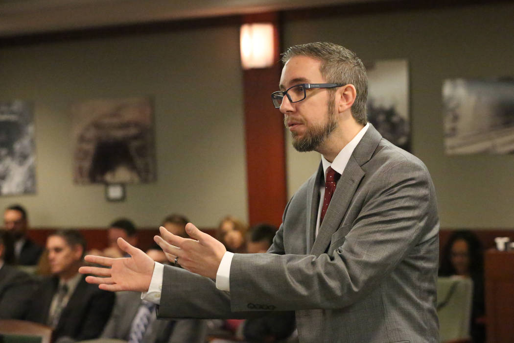 Attorney Brandon Trout argues in court for the Siegel Group, the company that claims Sam Aldabb ...