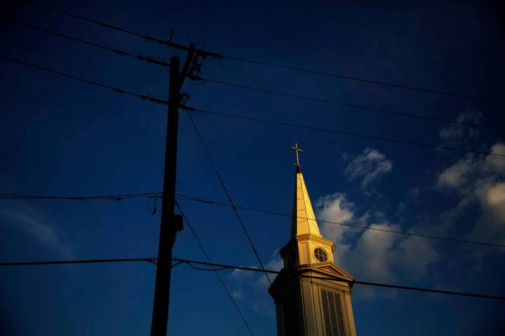 n a Tuesday, April 11, 2017, file photo, the sun sets on a Baptist church in Georgia. According ...