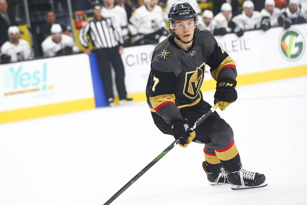 Golden Knights' Valentin Zykov (7) looks on during the first period against the Los Angeles Kin ...