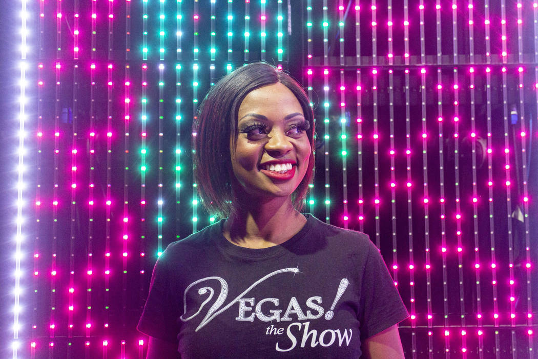 """""""Vegas! The Show"""" dancer Lauren Clark before a performance at the Saxe Theater at the ..."""