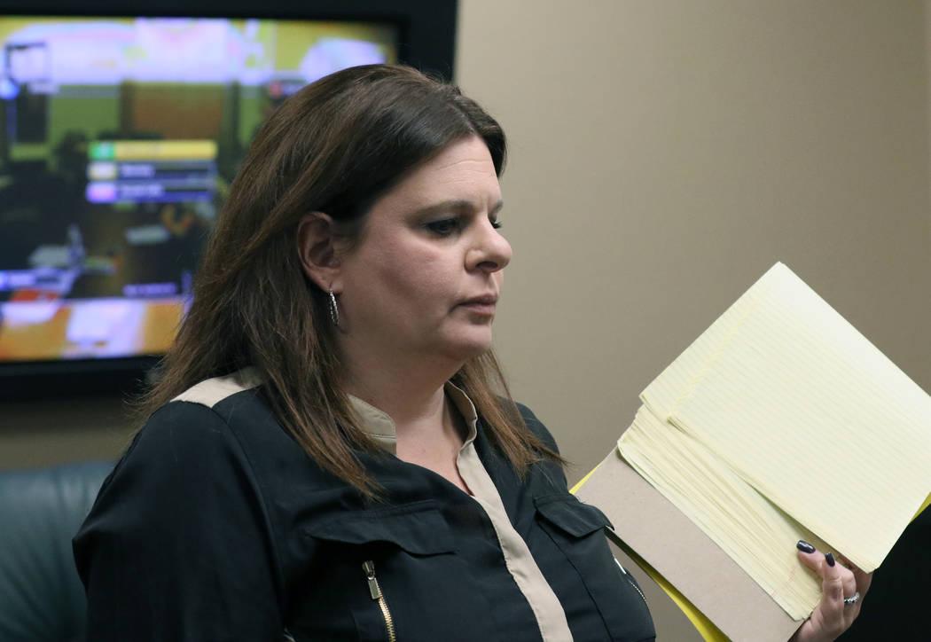 Nevada State Board of Dental Examiners General Counsel, Melanie Bernstein Chapman, leaves a mee ...