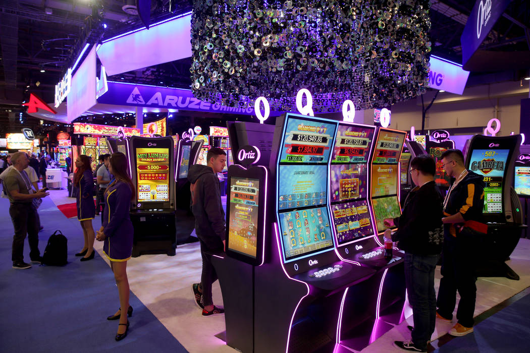 The Aruze Gaming booth at 2019 Global Gaming Expo at the Sands Expo and Convention Center in La ...