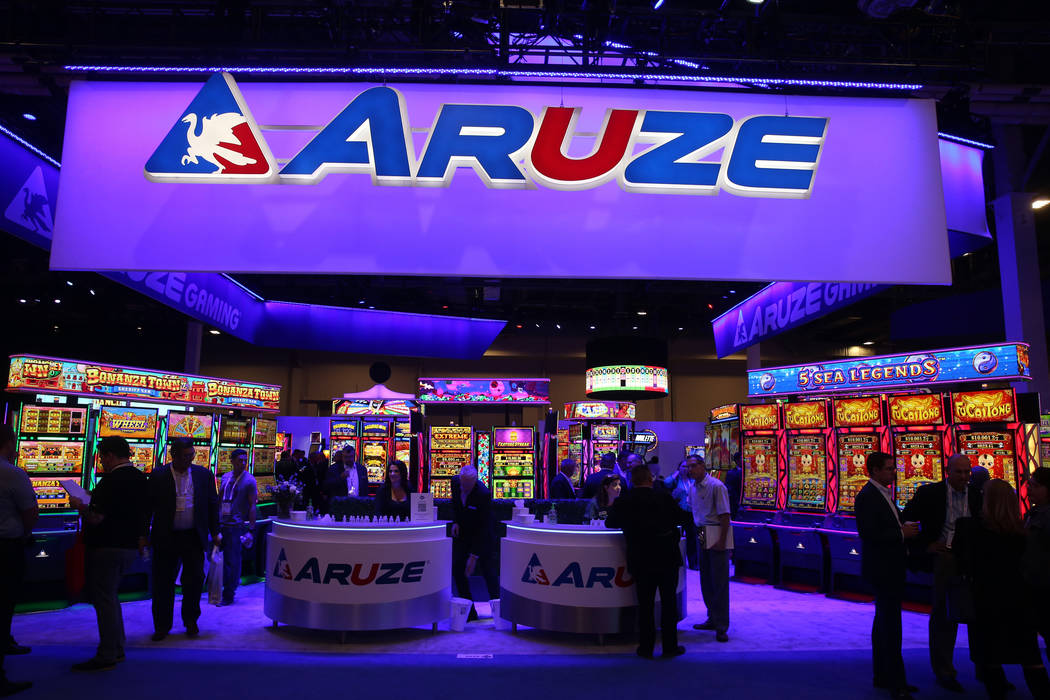 The Aruze Gaming booth at the 2019 Global Gaming Expo at the Sands Expo and Convention Center i ...