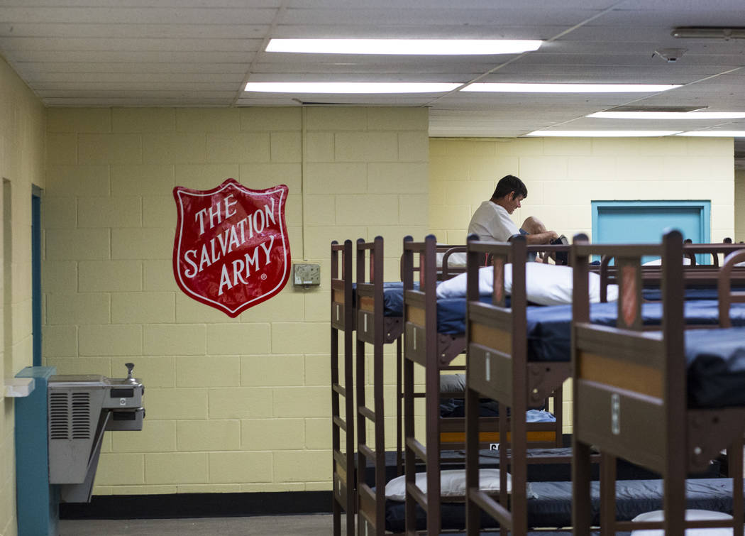 A view of the bunks at The Salvation Army homeless shelter near downtown Las Vegas on Tuesday, ...