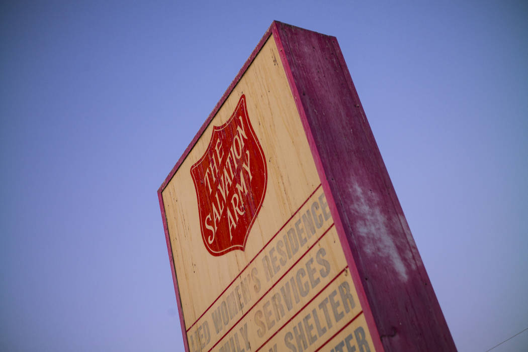 A sign for The Salvation Army homeless shelter near downtown Las Vegas on Tuesday, Oct. 15, 201 ...