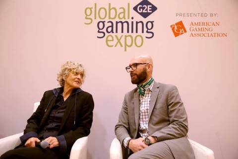 Nancy Bennett, chief creative officer at Two Bit Circus in Los Angeles, and Kevin Clark, Wynn N ...