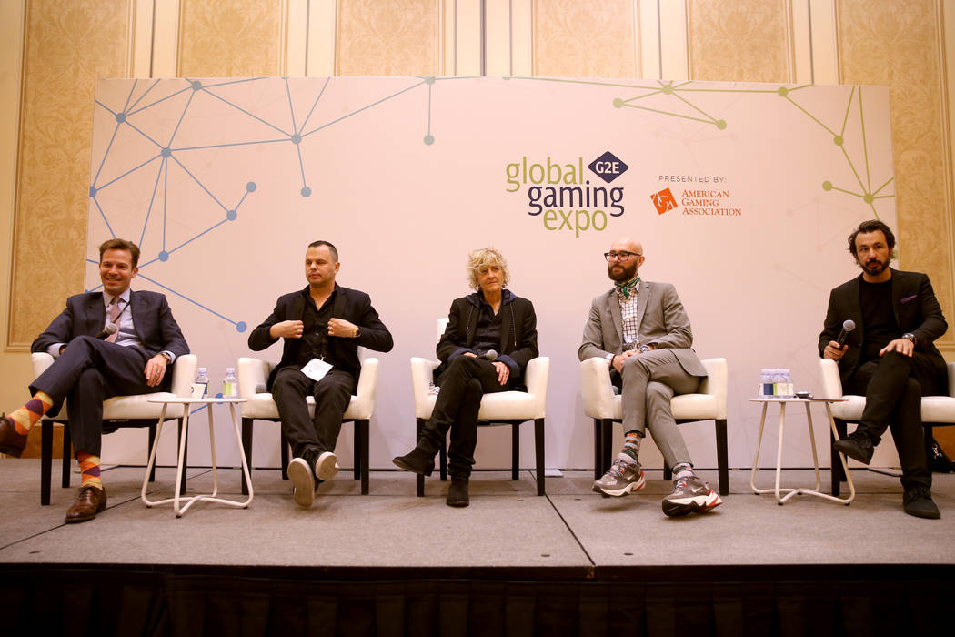 Seth Schorr, CEO Fifth Street Gaming of Las Vegas, from left, Roberto Coppola, vice president, ...