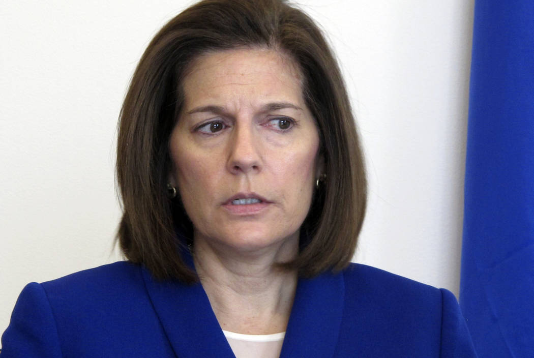 In this Jan. 11, 2019, file photo, Sen. Catherine Cortez Masto, D-Nev., talks to reporters in h ...