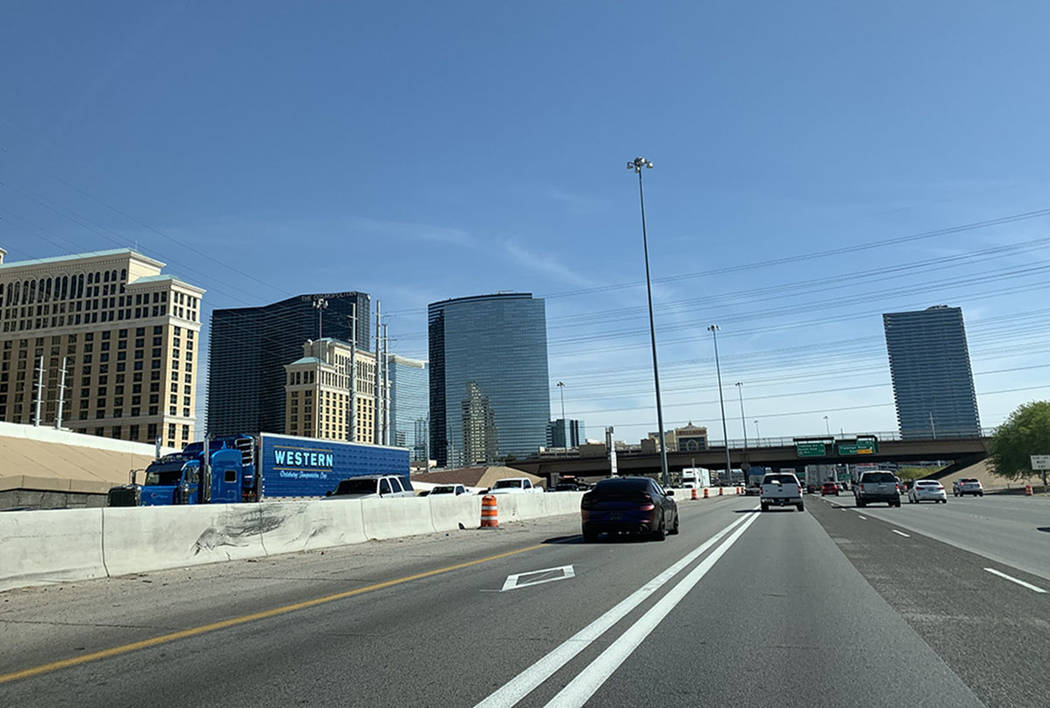 A car drives in the high occupancy vehicle lane. (Las Vegas Review-Journal)