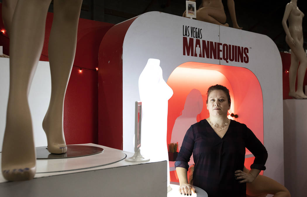 Las Vegas Mannequins CEO Alison Wainwright stands for a portrait in her business's showroom on ...