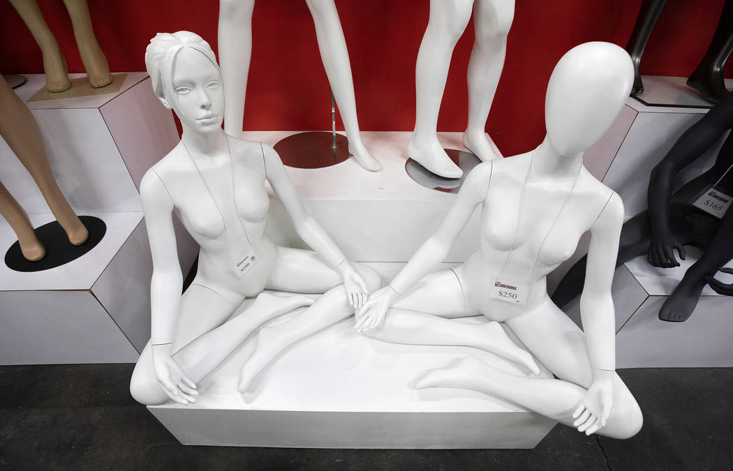 Mannequins are on display at the Las Vegas Mannequins showroom on Thursday, Oct. 17, 2019, in L ...