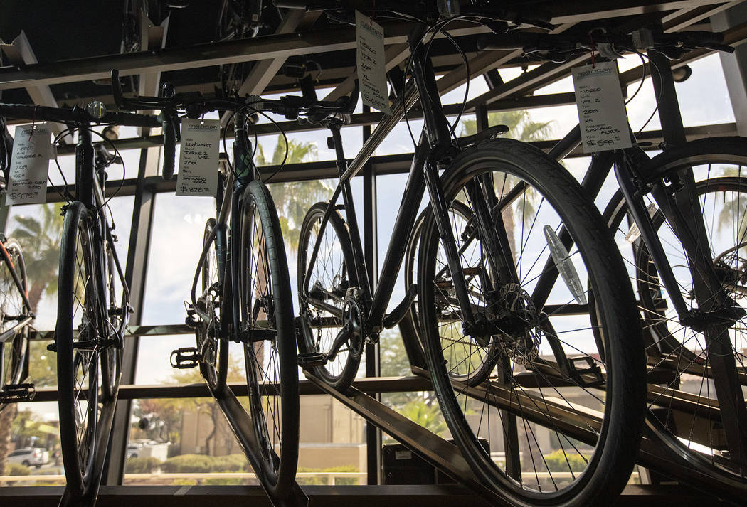 Bicycles are on display at Pro Cyclery on Wednesday, Oct. 16, 2019, in Las Vegas. The store is ...