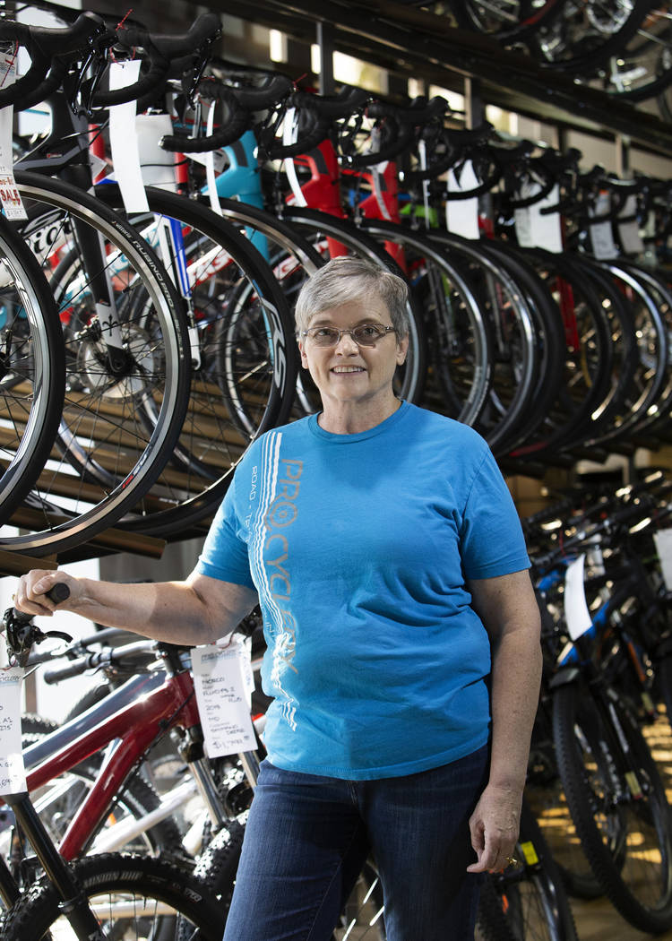 Pro Cyclery co-owner Cheri Tillman stands for a portrait in her store on Wednesday, Oct. 16, 20 ...