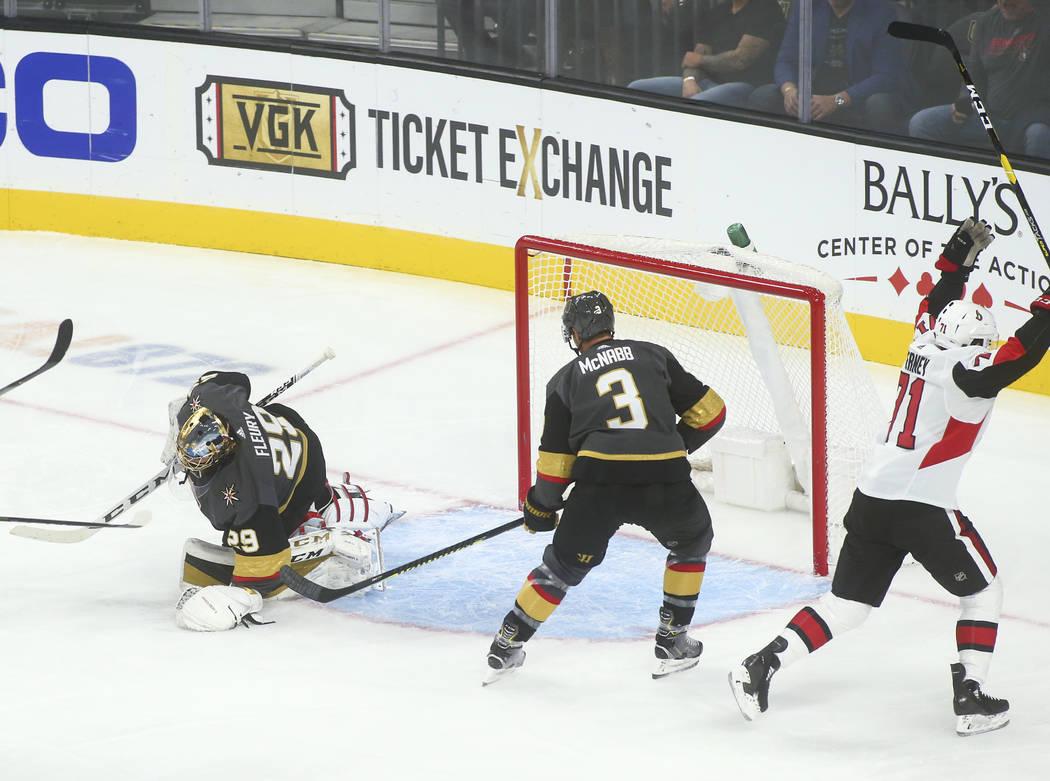 Ottawa Senators' Chris Tierney (71) celebrates after a teammate scored past Golden Knights goal ...
