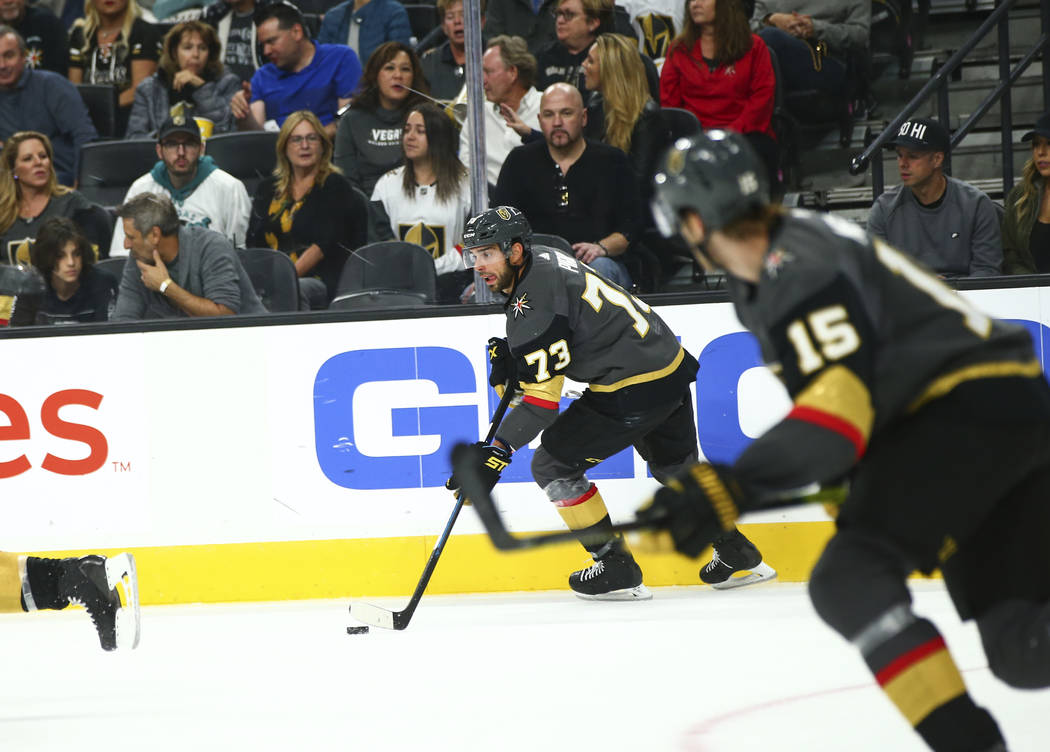 Golden Knights' Brandon Pirri (73) moves the puck during the second period of an NHL hockey gam ...