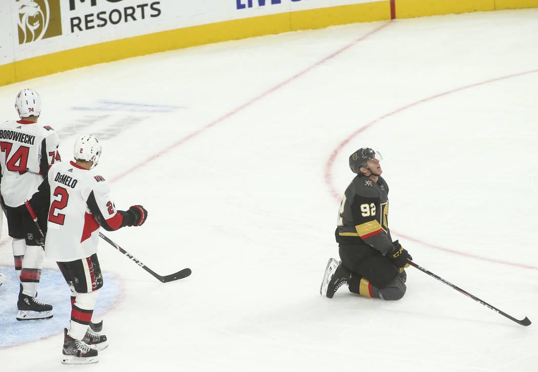 Golden Knights' Tomas Nosek (92) reacts after an attempted goal against the Ottawa Senators dur ...