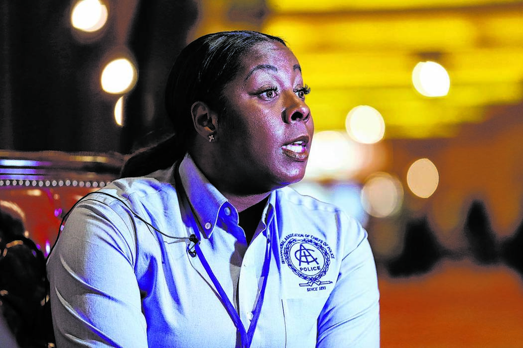 Former Henderson Police Department Chief LaTesha Watson is interviewed at South Point in Las Ve ...