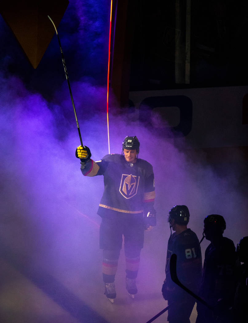Vegas Golden Knights defenseman Nate Schmidt (88) is introduced to the fans before the start of ...