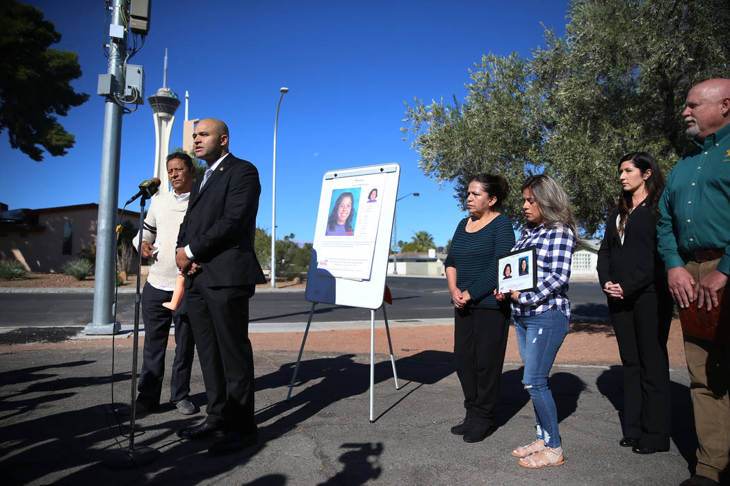 Las Vegas police Lt. Ray Spencer, second from left, speaks during a news conference on Friday, ...