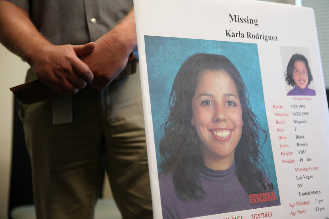 An age-enhanced picture of Karla Rodriguez, who disappeared 20 years ago near her Las Vegas hom ...