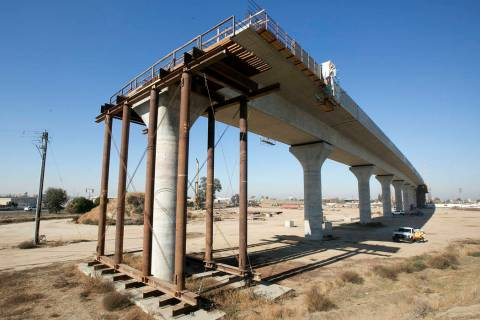 An elevated section of the high-speed rail under construction is seen in Fresno, Calif., in 201 ...