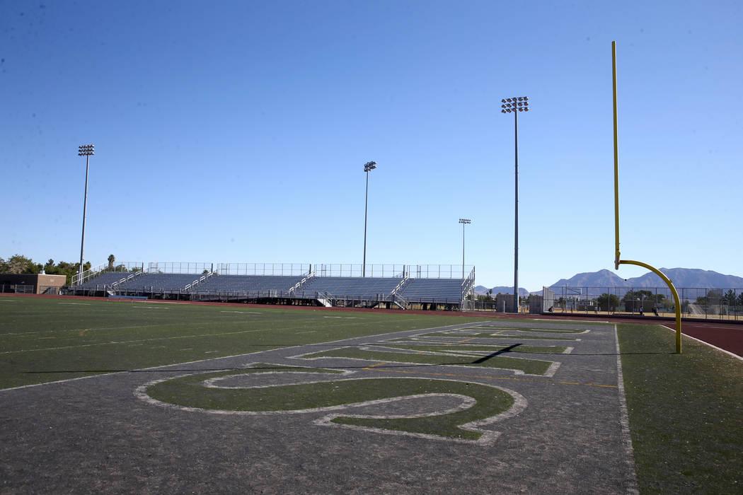 "Rancho High School football field in North Las Vegas Friday, Oct. 18, 2019. ""Jeopardy!&quo ..."