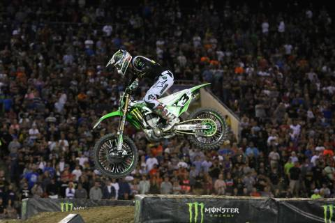 Eli Tomac competes in the 2018 Monster Energy Cup Race at Sam Boyd Stadium on Saturday, Oct. 13 ...