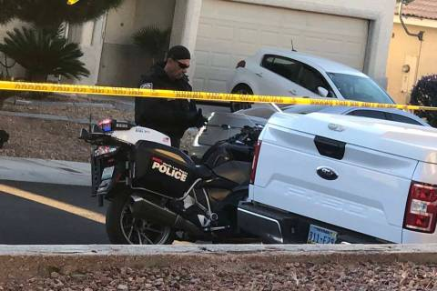 Police investigate a shooting involving a North Las Vegas police officer on the 4800 block of P ...