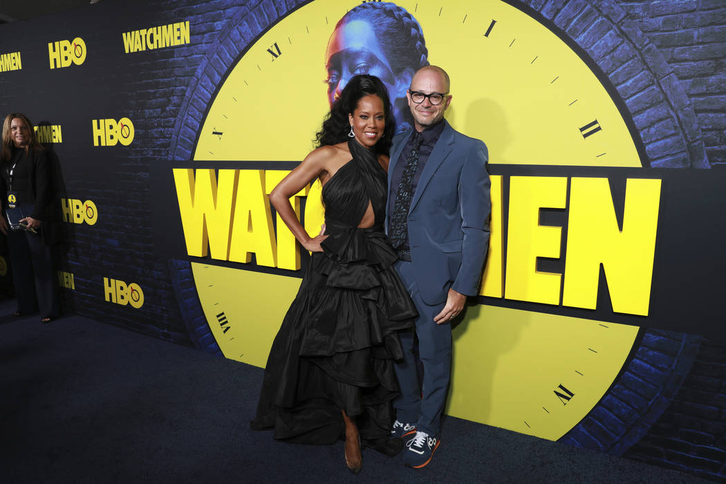 """Regina King and Damon Lindelof attend the """"Watchmen,"""" premiere at the Cinerama Dome, ..."""