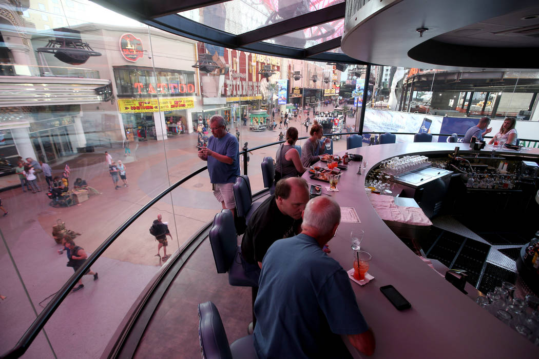 The rotating bar at Whiskey Licker Up Saloon in Binion's at Fremont Street Experience in downto ...