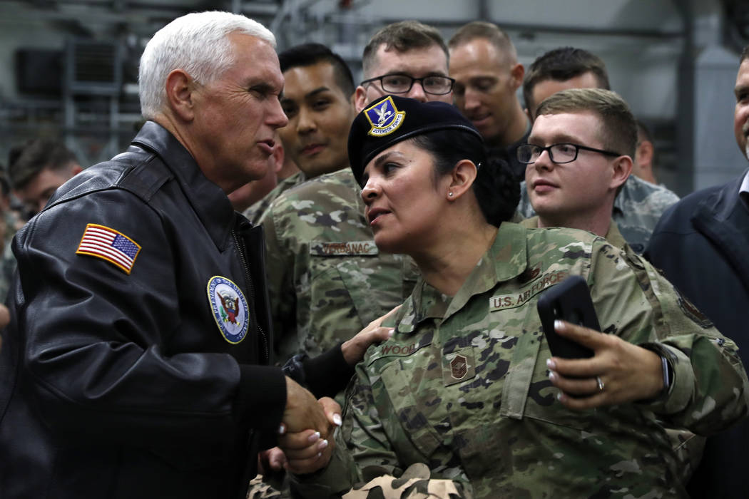 Vice President Mike Pence greets U.S. troops after speaking at Ramstein Air Force Base, Germany ...