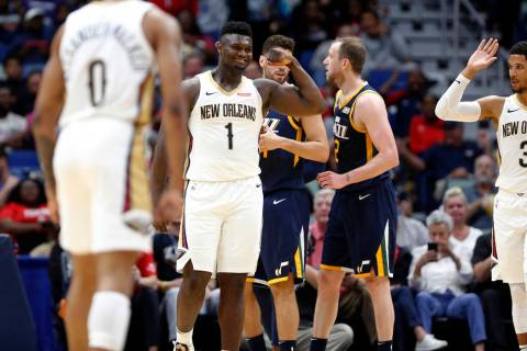 New Orleans Pelicans forward Zion Williamson (1) reacts after scoring a basket against the Utah ...