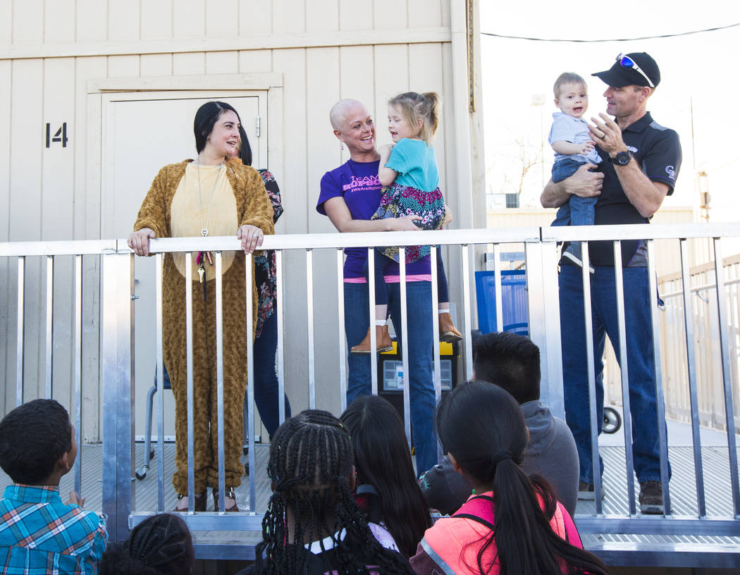 Ronnow Elementary School Principal Michelee Crawford, left, speaks alongside Jessica Hopson, ho ...